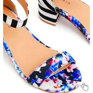 Torrid Black Stripe & Floral Ankle Strap Block Heel 8.5 (WW)